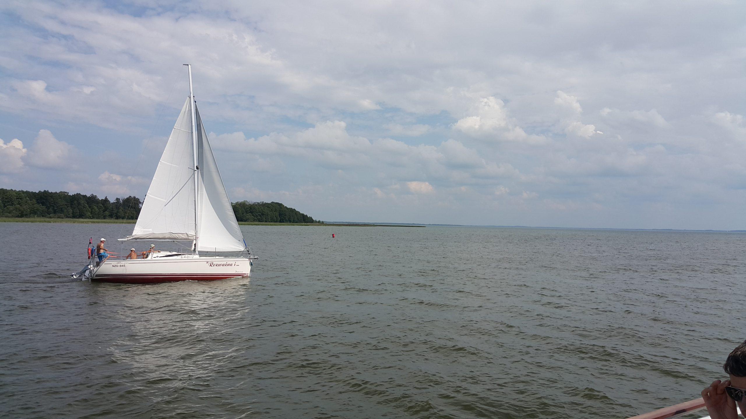 a sail-boat taken during the ship cruise from atown of Mikolajki tothe Sniardwy Lakese