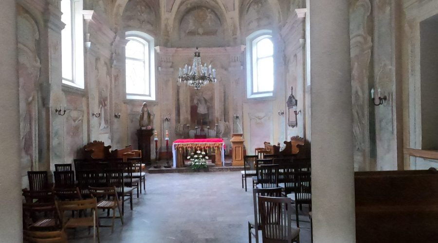 """an interior of aroman-catholic church """"on the island"""" in atown of Zwierzyniec in the heart of the Polish Roztocze"""