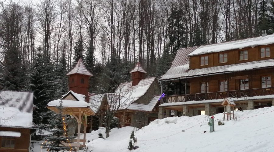 a stroll to the mountain shelter in Kasina Wielka in Poland during the ski vacation