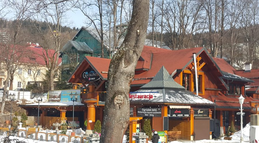 a stroll through acentre of of Krynica during one of the winter weekends; Krynica belongs to2 most famous Polish ski-resorts besides Zakopane