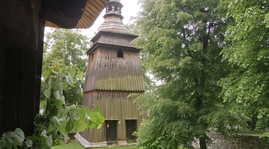 the 19th century wooden peasant architecture in the open-air museum in a settlement of Lipowiec in the Polish Jura