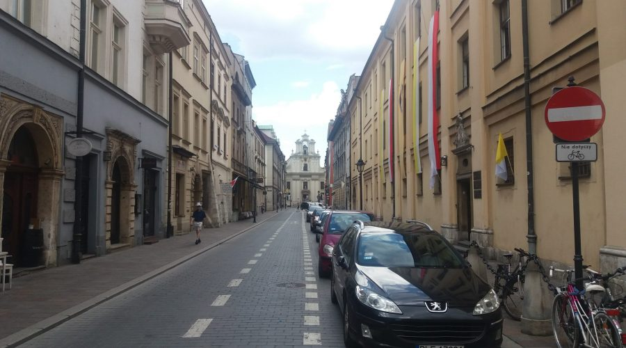 view of the swiety Jan street that is leading to the main market square of the Krakow Old Town