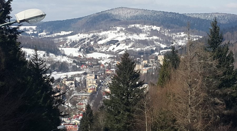 panorama of Krynica seen from the cable train tothe Parkowa mountain